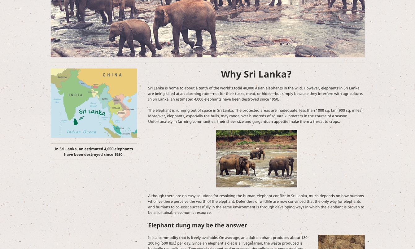 <p>The company pages offer useful information about elephant dung paper and its positive impact on the environment, elephants, and people of Sri Lanka.</p>