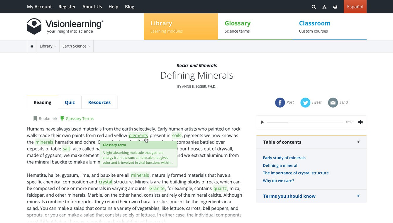 <p>Learners can highlight glossary terms within the reading. Term definitions are available on hover. </p>