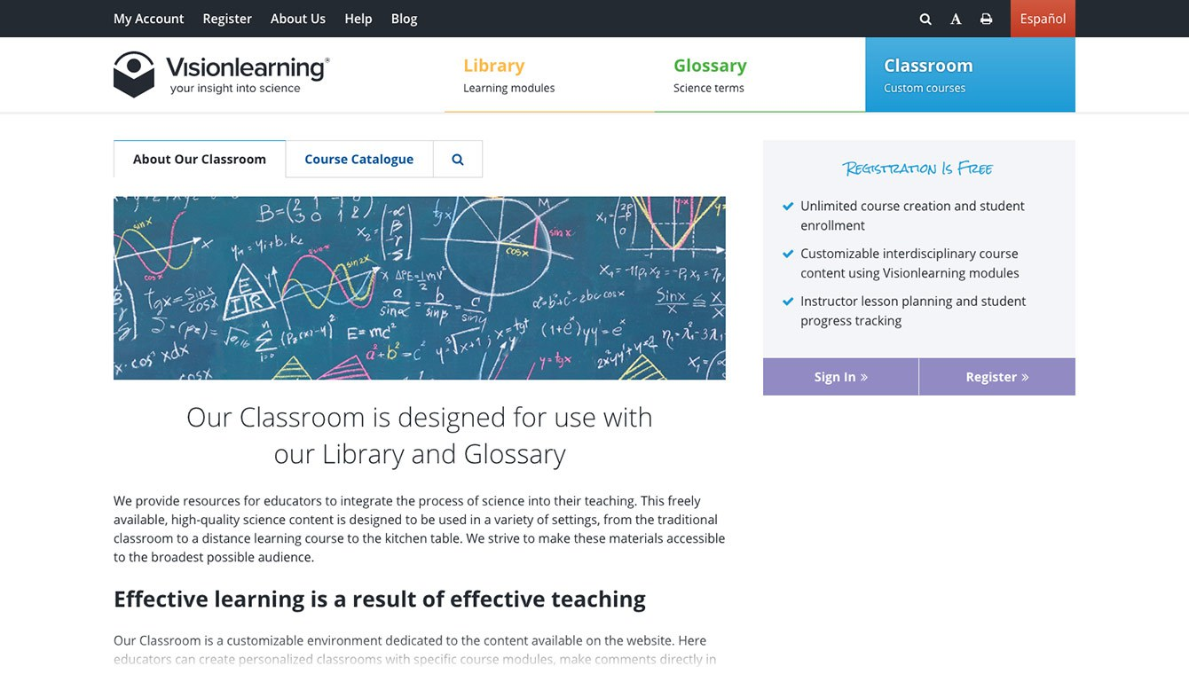 <p>In the Classroom, teachers can create custom courses, store lesson plans and notes, and track student progress.</p>