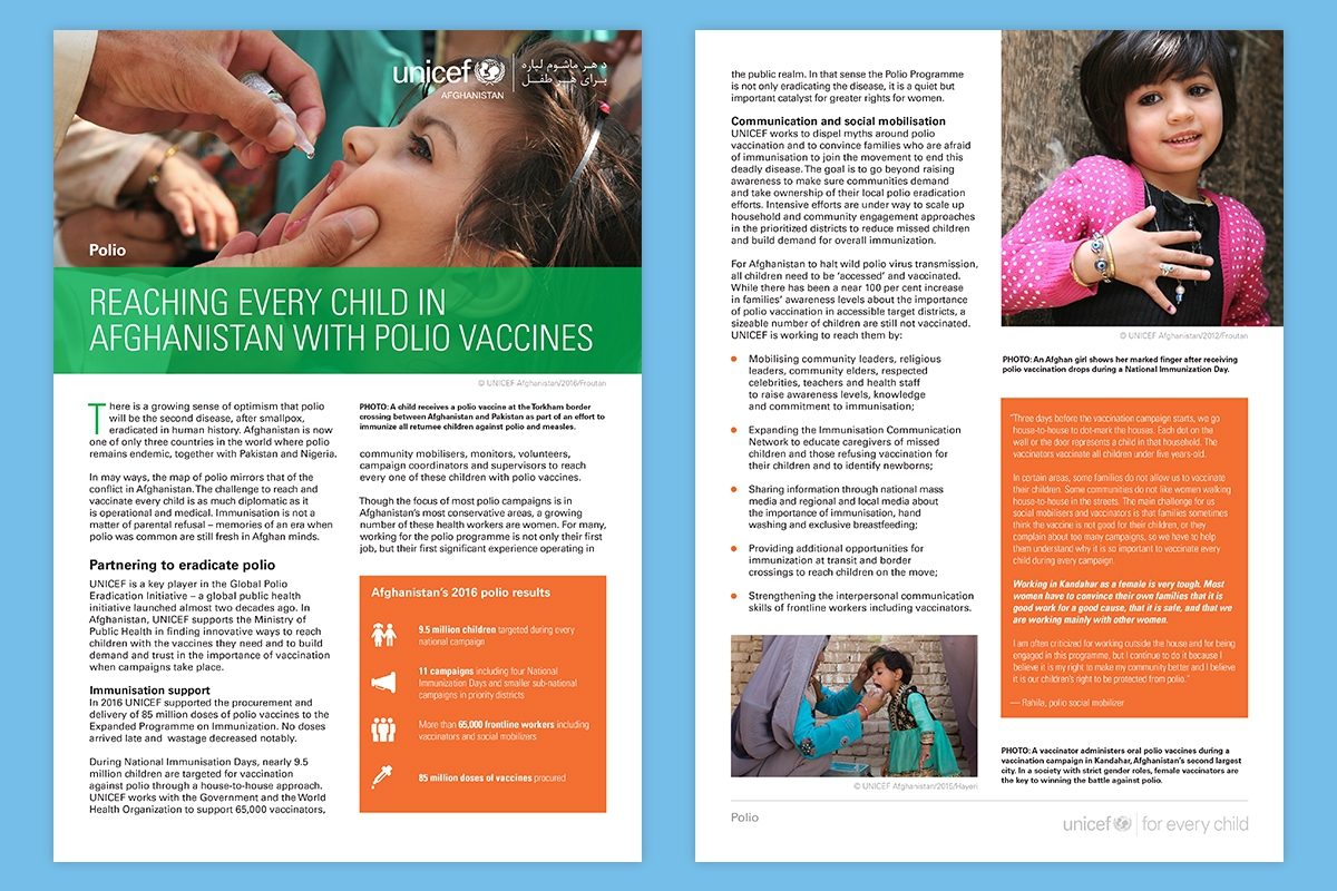 Programme Briefs for UNICEF Afghanistan